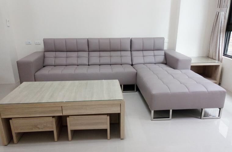 【牛皮L型沙發訂做】員林張公館 - 01