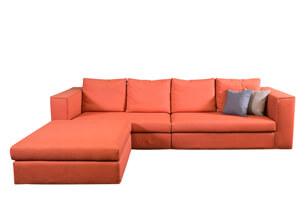 橙色L型沙發